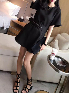 Black Above Knee Shift Dress for Casual Office Seasonal Discount
