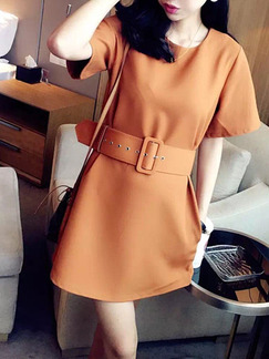 Brown Short Shift Dress for Casual Office Evening