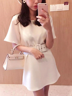 White Above Knee Shift Dress for Casual Office