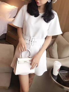 White Above Knee Shift Dress for Casual Office  Seasonal Discount