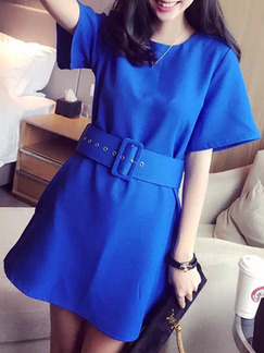 Blue Above Knee Shift Dress for Casual Office