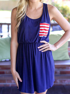 Blue Fit & Flare Above Knee Plus Size Dress for Casual Beach