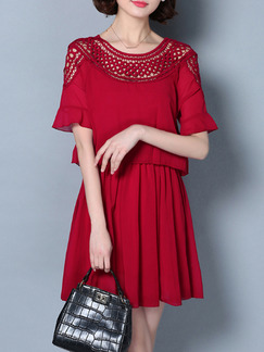 Red Fit & Flare Above Knee Plus Size Lace Dress for Party Cocktail Evening