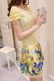 Yellow Colorful Above Knee Lace Dress for Casual Party