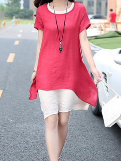 Red and White Short Shift Dress for Casual Seasonal Discount