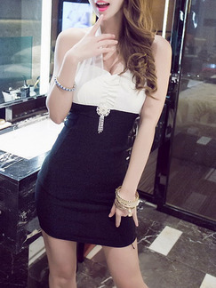 White Black Above Knee Bodycon Halter Dress for Party Evening Cocktail  Seasonal Discount