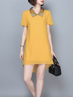 Gold Knee Length Shift Shirt Dress for Casual Office