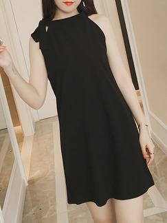 Black Above Knee Shift Halter Dress for Casual Party Evening