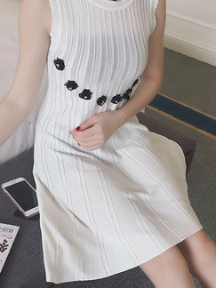 White Knee Length Shift Dress for Casual Party