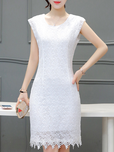 White Lace Sheath Plus Size Above Knee Dress for Party Evening Cocktail  Seasonal Discount