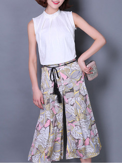 White Colorful Two Piece Shirt Pants Wide Leg Plus Size Jumpsuit for Casual  Seasonal Discount