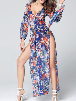 Blue Colorful Maxi V Neck Plus Size Long Sleeve Dress for Party Beach Evening Cocktail  Seasonal Discount