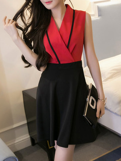Red Black Above Knee V Neck Fit & Flare Dress for Casual Office Party Evening  Seasonal Discount
