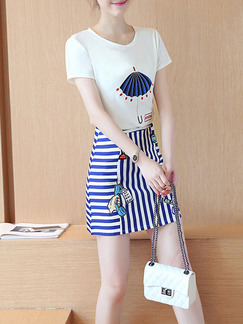White Blue Colorful Short Bodycon Two Piece Dress for Casual Party  Seasonal Discount