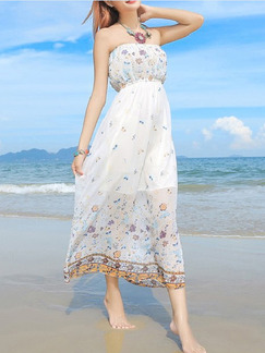 White Colorful Midi Strapless Dress for Casual Beach