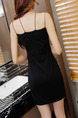Black Sheath Above Knee Slip V Neck Dress for Casual Party Cocktail Seasonal Discount