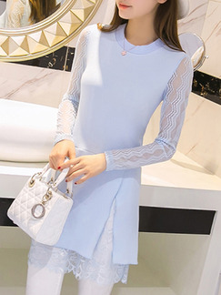 Blue Sheath Above Knee Plus Size Long Sleeve Lace Dress for Casual Party Evening Office Seasonal Discount