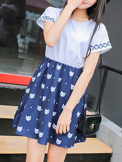 Blue White Above Knee Plus Size Fit & Flare Dress for Casual Party Seasonal Discount