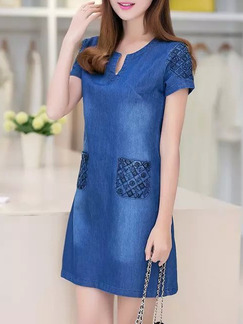 Blue Shift Above Knee Plus Size V Neck Denim Dress for Casual Party