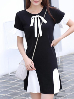 White and Black Above Knee Shift Dress for Casual Party