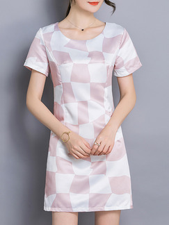 White Pink Above Knee Cute Plus Size Shift Dress for Casual Party Evening Seasonal Discount