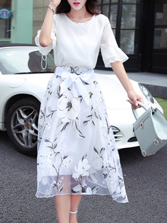 White Colorful Midi Floral Plus Size Dress for Casual