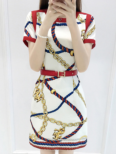 White Red Colorful Shift Above Knee Dress for Casual Party Office
