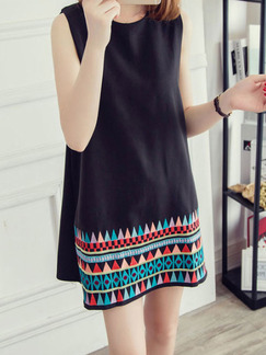 Black Colorful Short Shift Dress for Casual Seasonal Discount