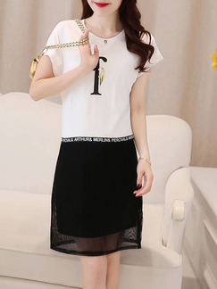 White Black Above Knee Plus Size Shift Dress for Casual Office Seasonal Discount