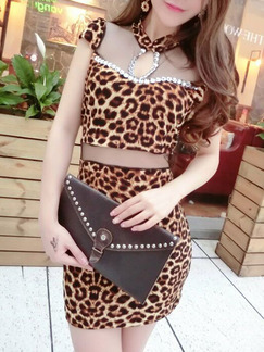 Leopard Above Knee Bodycon Dress for Party Evening Cocktail