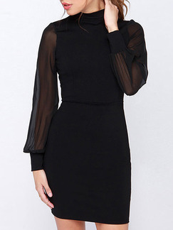 Black Above Knee Plus Size Long Sleeve Bodycon Backless Dress for Party Evening Cocktail