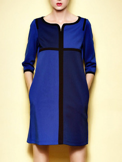 Blue Black Above Knee Plus Size Shift Dress for Casual Office Party