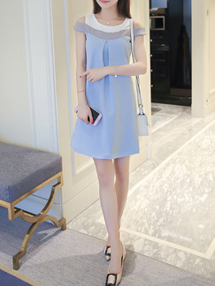 Blue Grey White Above Knee Plus Size Shift Dress for Casual Party Seasonal Discount