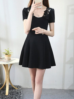 Black Above Knee Lace Fit & Flare Plus Size Dress for Casual Party Evening Seasonal Discount
