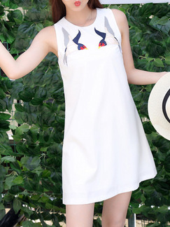 White Above Knee Shift Dress for Casual Party