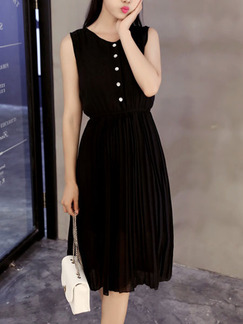 Black Knee Length Fit & Flare Dress for Casual Office Evening Party