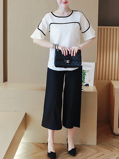 White Black Two Piece Shirt Pants Jumpsuit for Casual Office