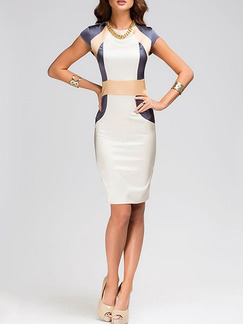 Grey Beige White Above Knee Bodycon Plus Size Dress for Party Office Cocktail