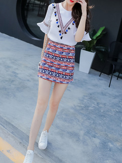 White Red Blue Shirt Top for Casual Party Seasonal Discount