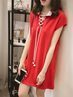 Red White Above Knee Shift Shirt Plus Size Dress for Casual Party Seasonal Discount