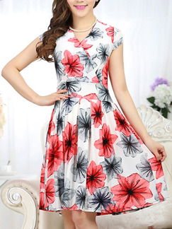 White Black Red Above Knee V Neck Fit & Flare Plus Size Floral Dress for Casual Party Evening Seasonal Discount