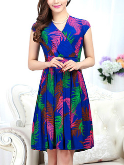 Blue Green Colorful Above Knee V Neck Fit & Flare Plus Size Dress for Casual Party Evening