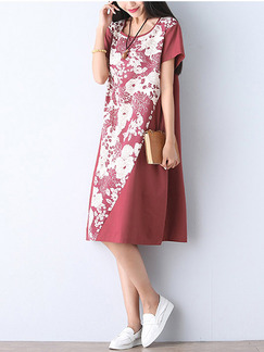 White Red Knee Length Shift Floral Plus Size Dress for Casual Seasonal Discount