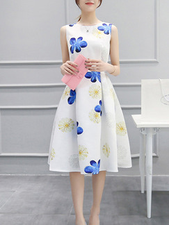 White Blue Colorful Knee Length Fit & Flare Floral Plus Size Dress for Party Evening Casual