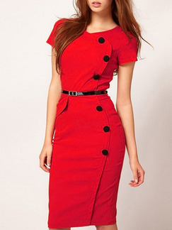 Red Black Knee Length Bodycon Plus Size Dress for Evening Office Cocktail