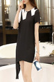 Black White Above Knee Shift Dress for Casual Party