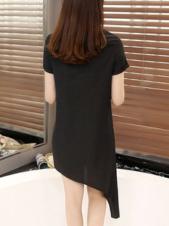 Black White Above Knee Shift Dress for Casual Party Seasonal Discount