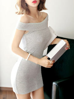 Grey Above Knee Bodycon Off Shoulder Dress for Party Cocktail Seasonal Discount