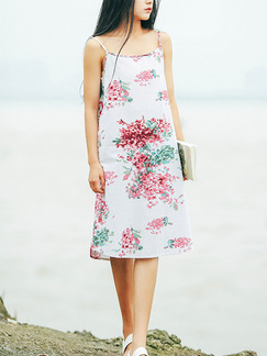 White Red Green Knee Length Shift Floral Slip Dress for Casual Beach