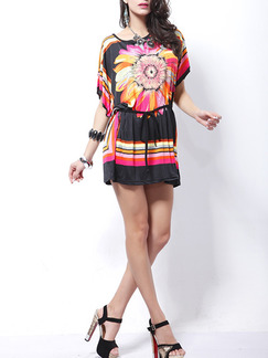 Black Pink Colorful Above Knee Shift Floral Dress for Casual Party Beach